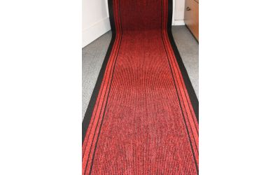 Red Stripe Entrance Hallway Mat Corridor 67cm wide