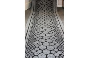 Grey Entrance Hallway Pebbles Mat Corridor 67cm wide