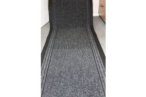 Charcoal Stripe Entrance Hallway Mat Corridor 67cm wide