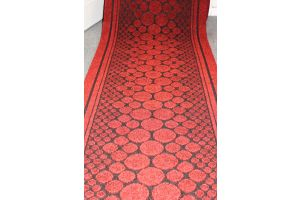 Red  Entrance Hallway Pebbles Mat Corridor 67cm wide