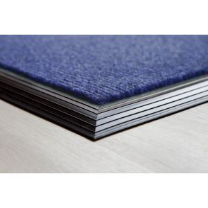 Blue Entrance Brush Mat Rubber Edge Made to Measure