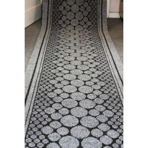 Grey Entrance Hallway Pebbles Mat Corridor 67cm wide