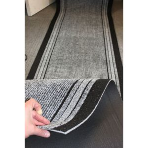 Grey Stripe Entrance Hallway Mat Corridor 67cm wide